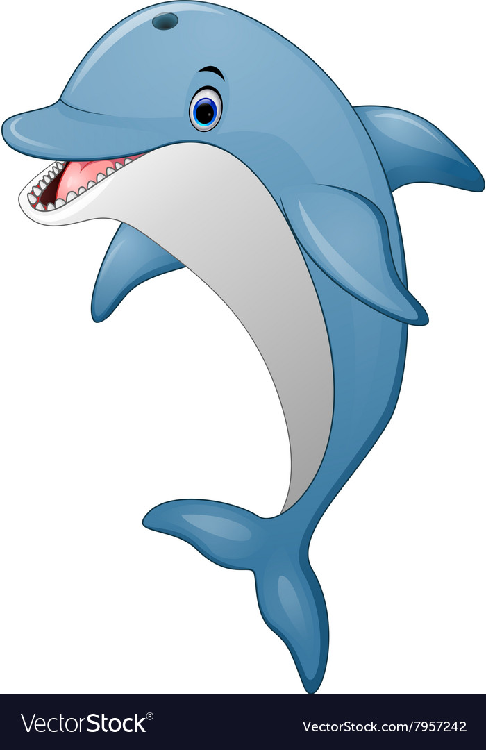 Standing Dolphin cartoon Royalty Free Vector Image