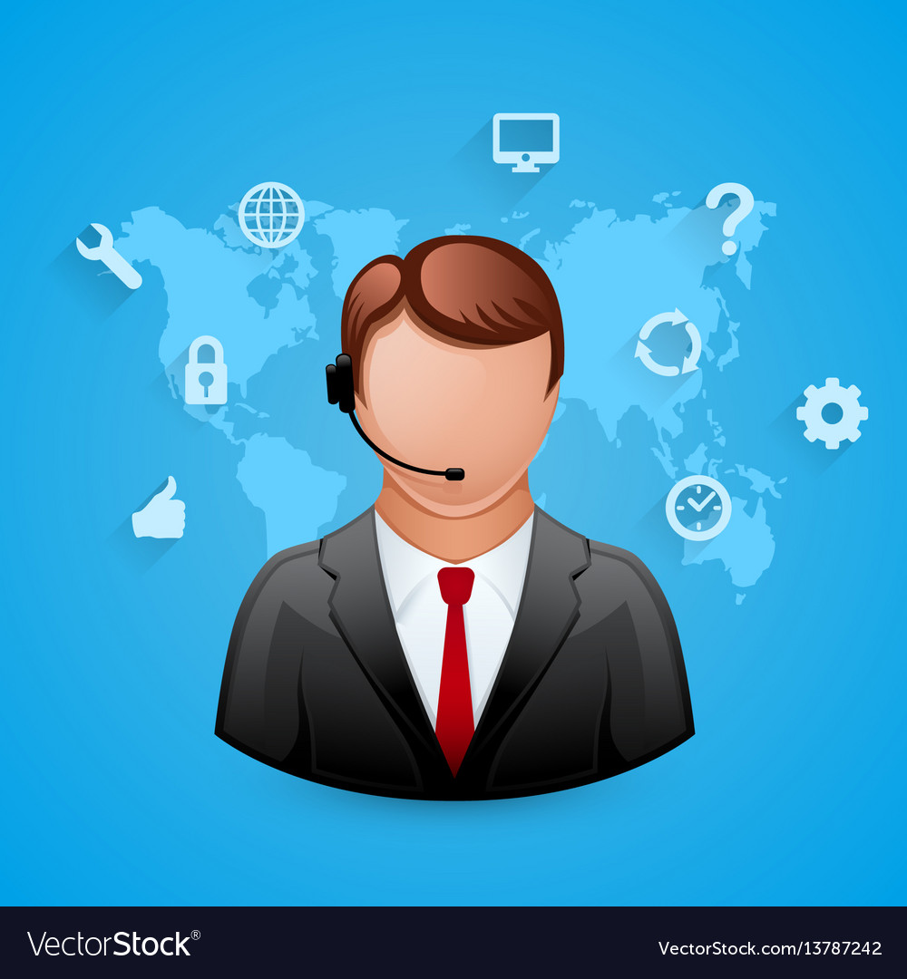 Technical support blue background man with icons