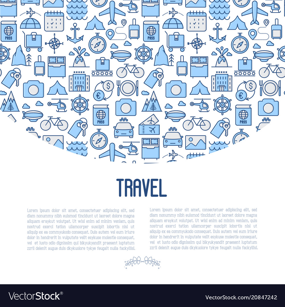 Travel and vacation concept with thin line icons