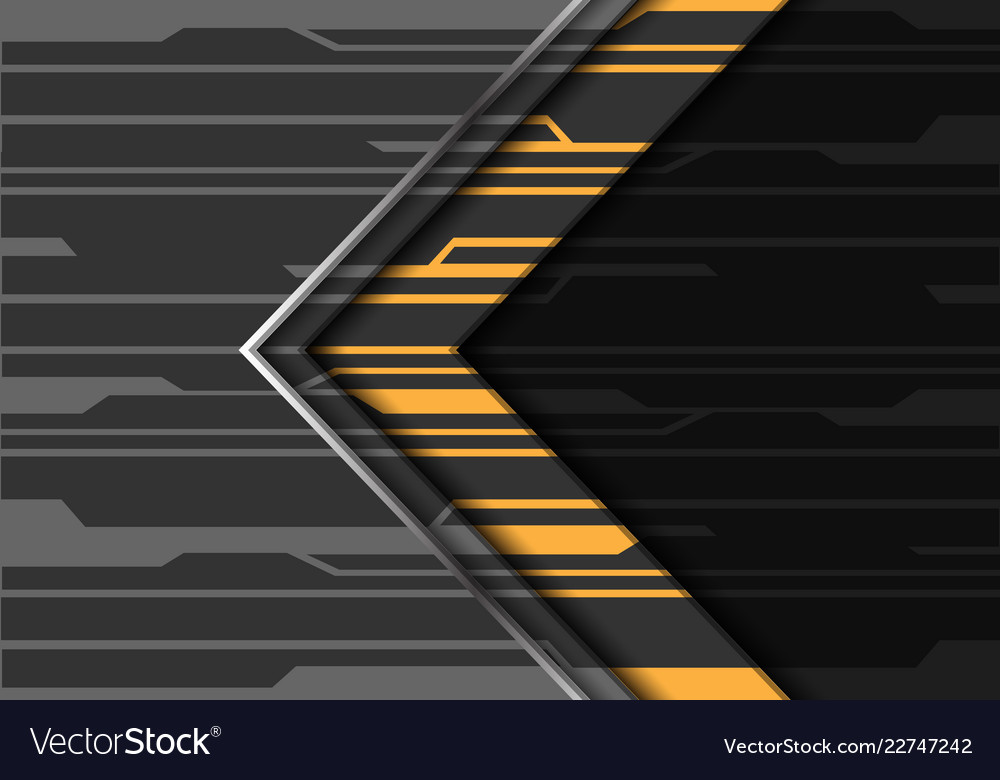 Yellow grey silver line circuit pattern arrow
