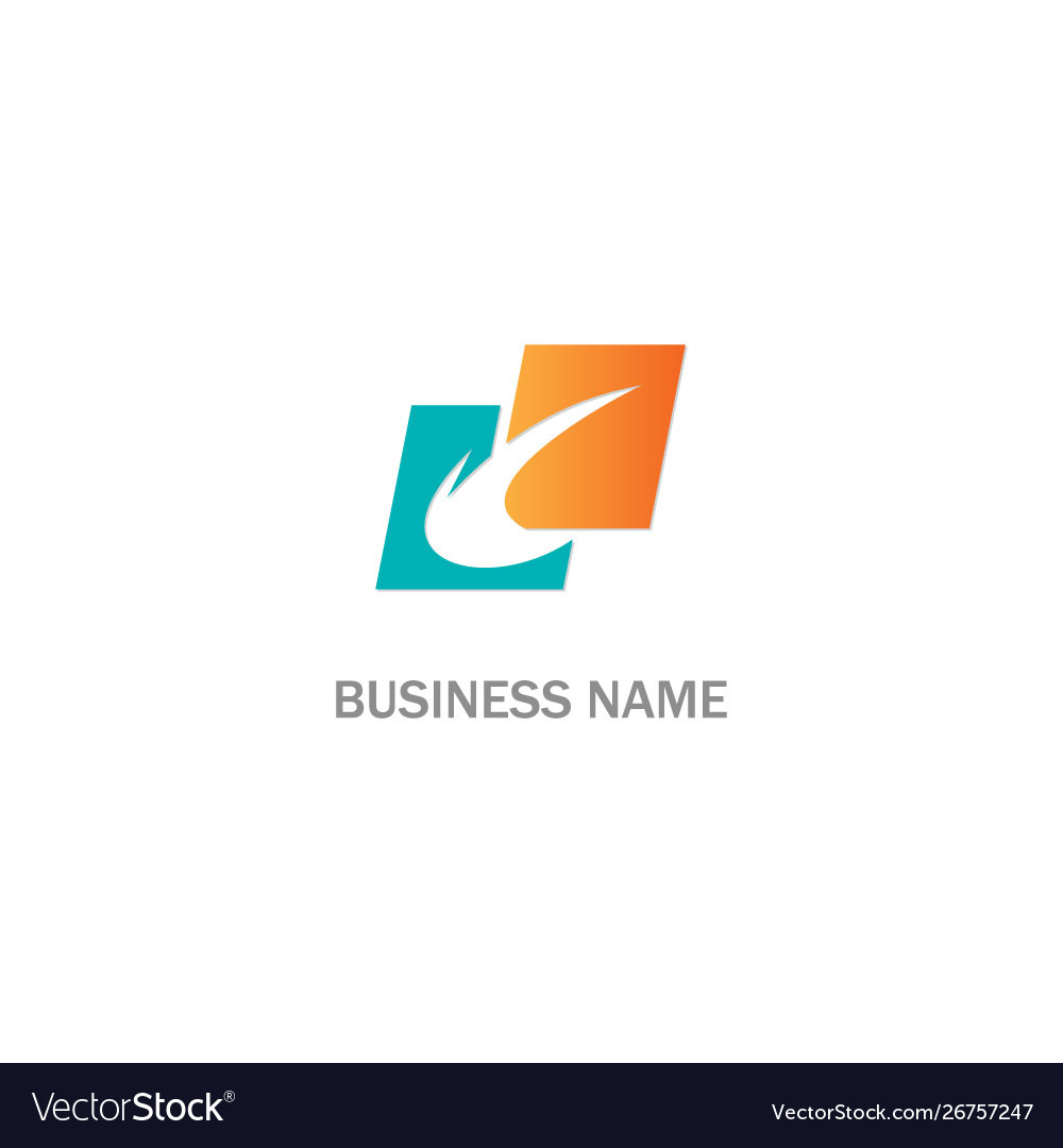 Abstract curve shape square colored logo