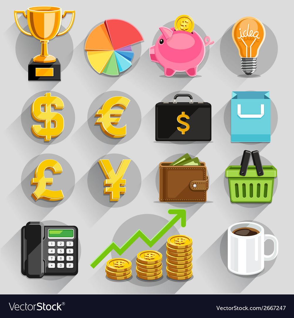 Business flat icons color set