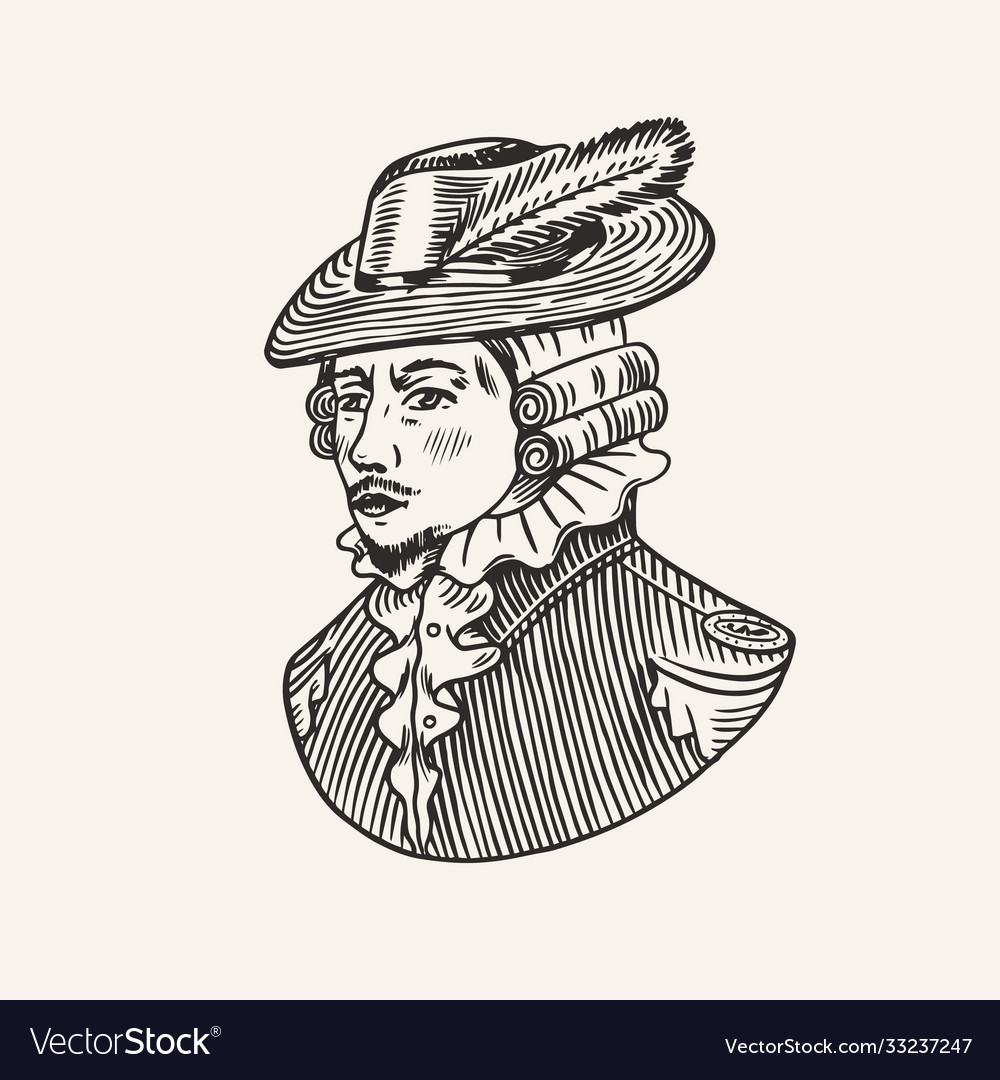 Duke or antique victorian man with feather hat