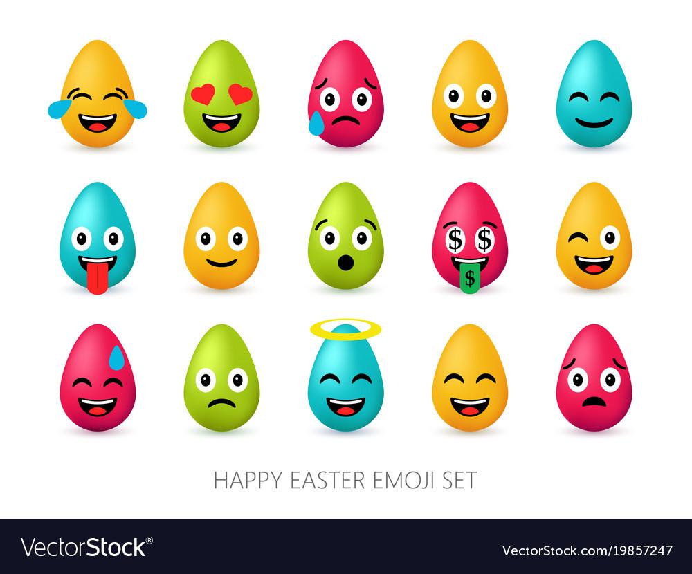 Easter eggs emoji set cute funny emotional icons
