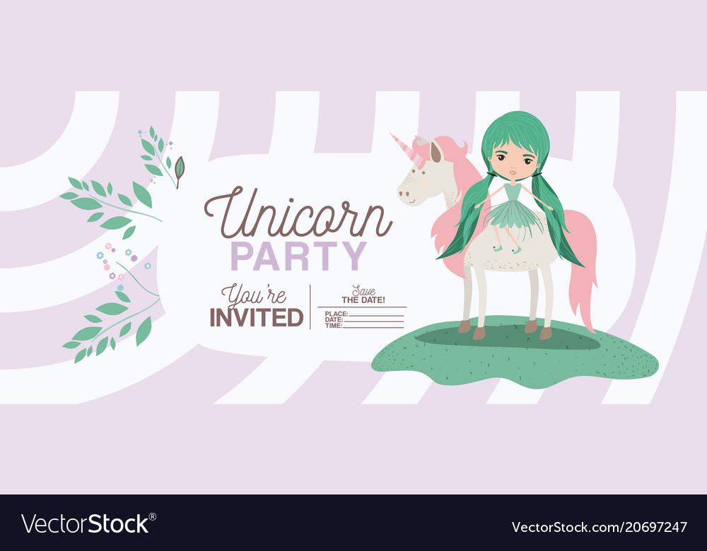 Fairy with unicorn invitation card royalty free vector image fairy with unicorn invitation card vector image stopboris Choice Image