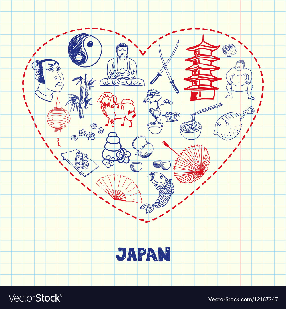 Japan Symbols Pen Drawn Doodles Collection