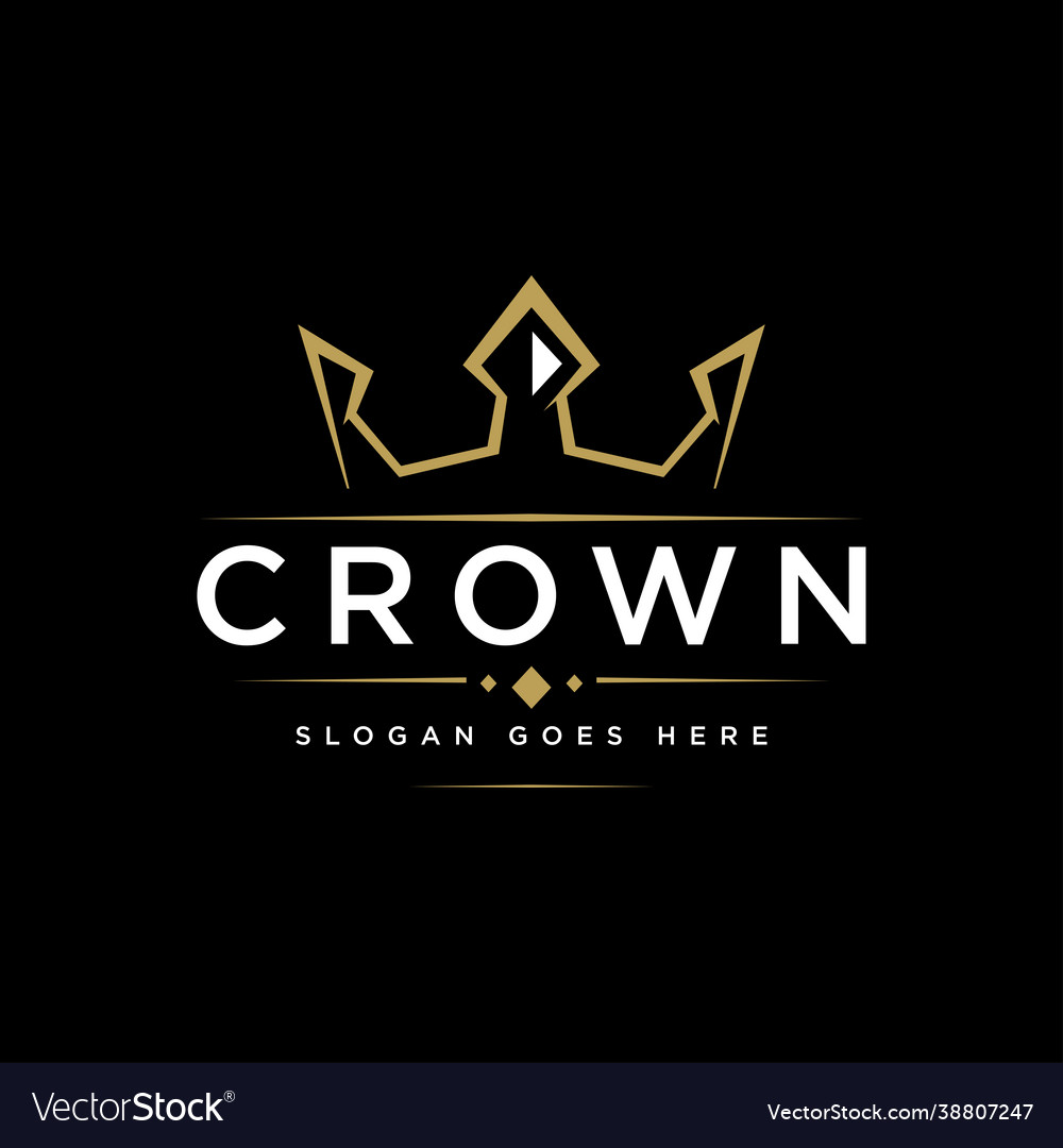 Luxury minimalist crown label logo icon