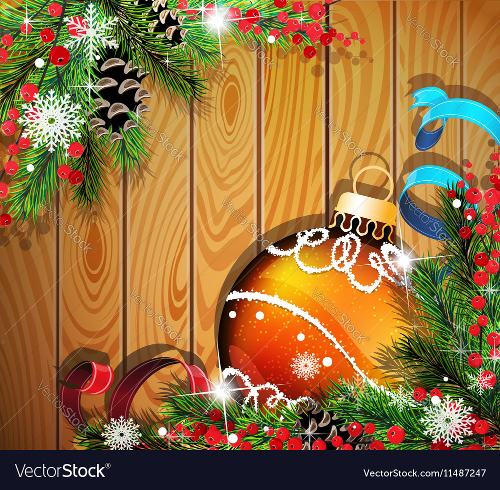 Orange Christmas ball on wooden background
