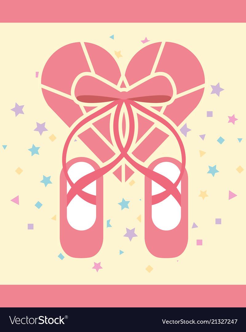 Pink ballet pointe shoes diamond shape heart
