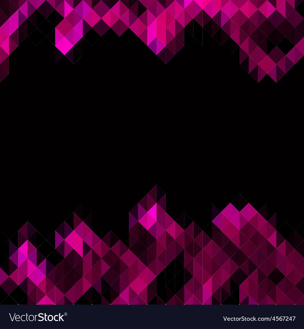 Pink triangles set as frame for text vector image