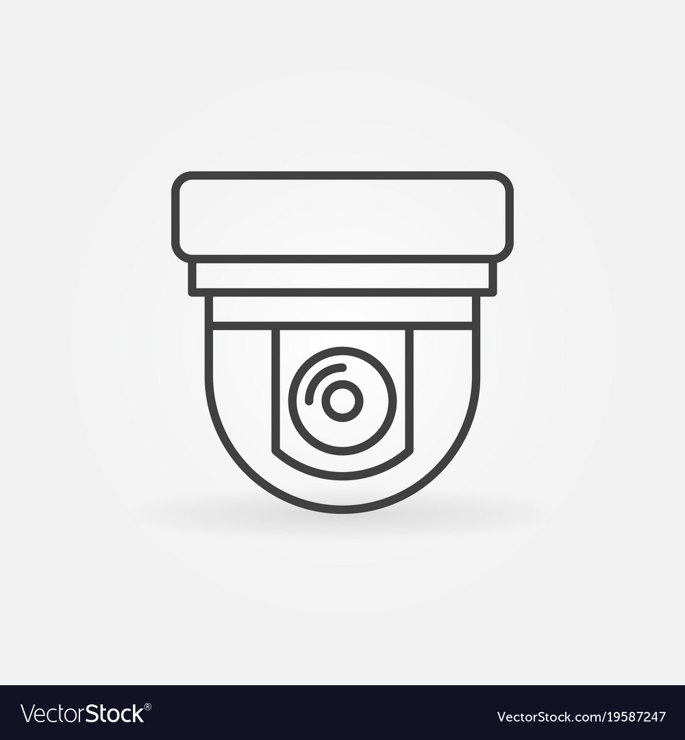 Security surveillance camera linear icon