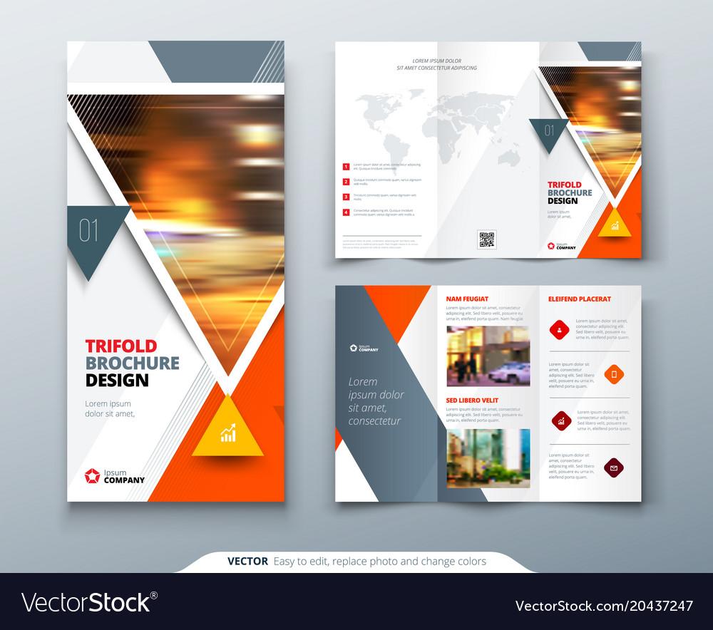 Trifold Brochure Design Orange Template For Vector Image