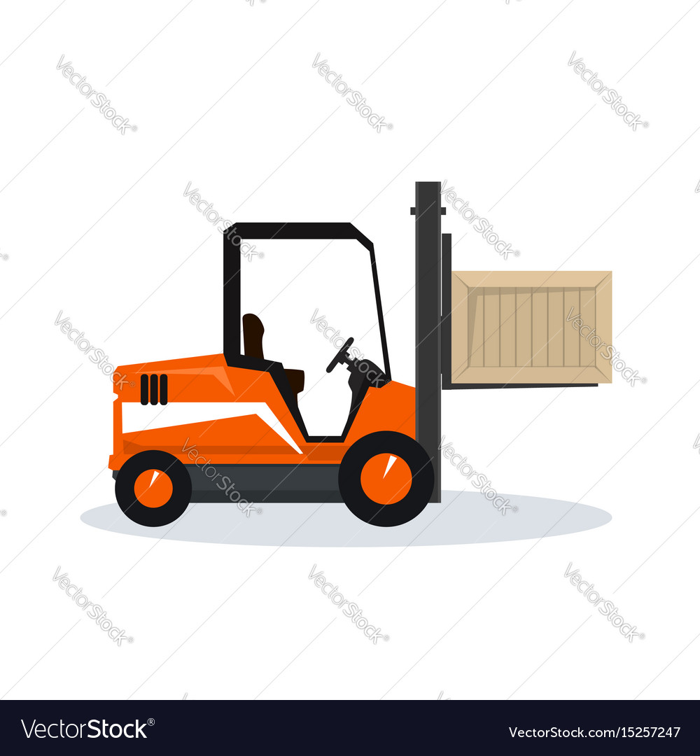 Vehicle forklift picks up a box vector image
