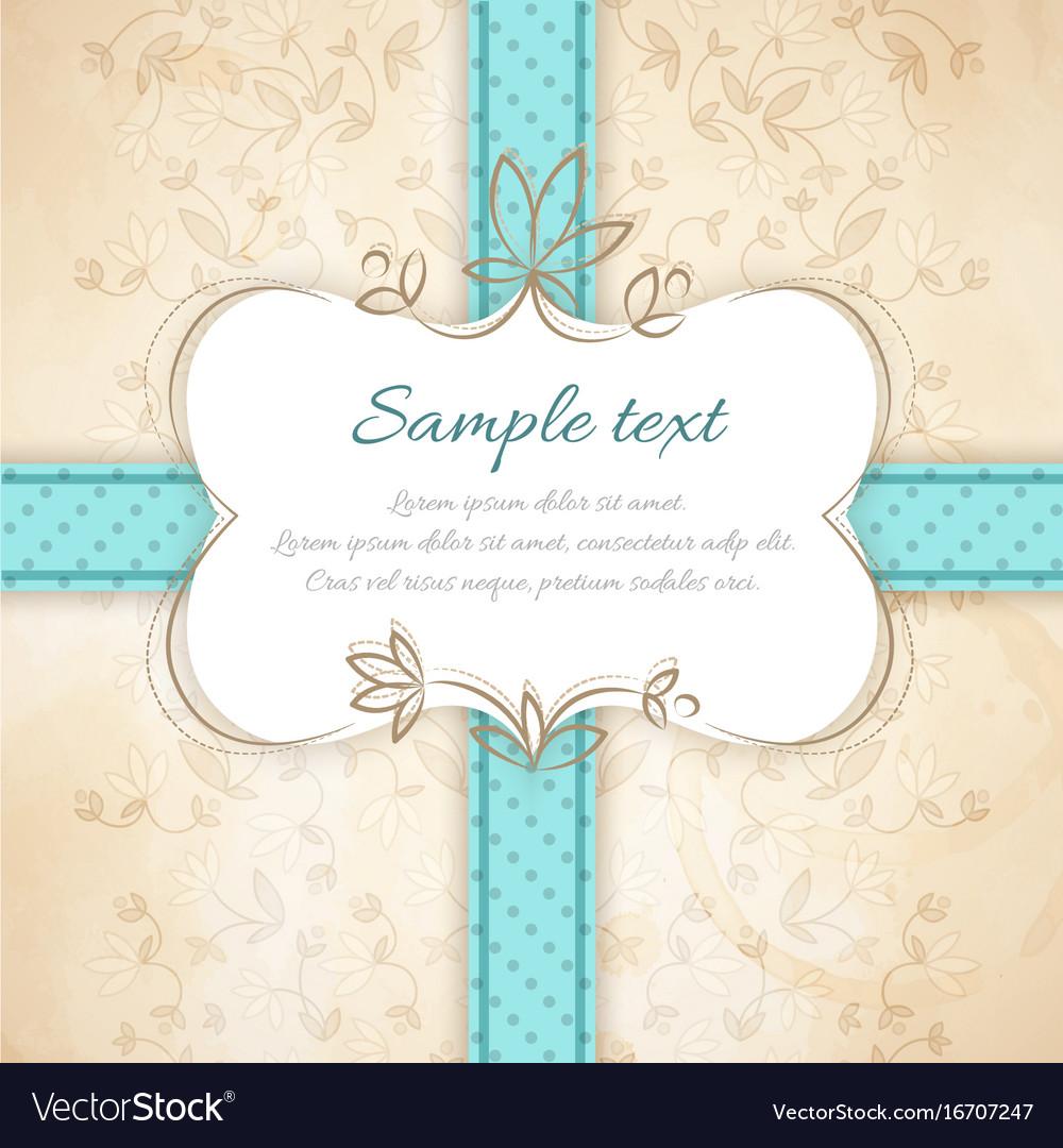 Vintage invitation template vector image