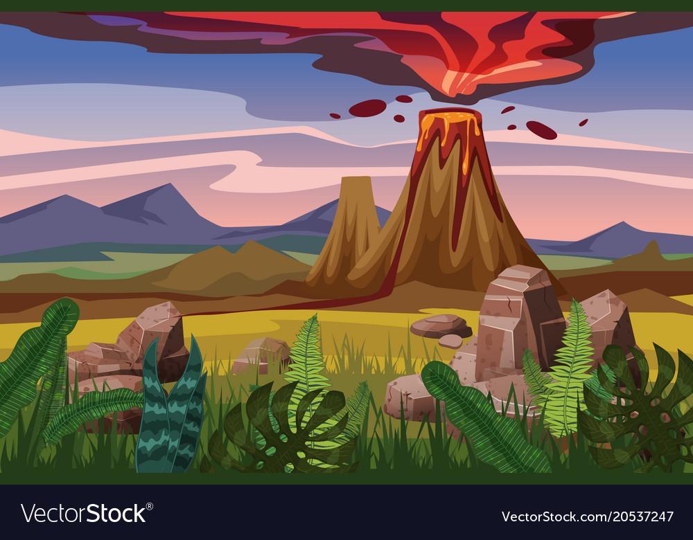 Volcano eruption background landscape plain
