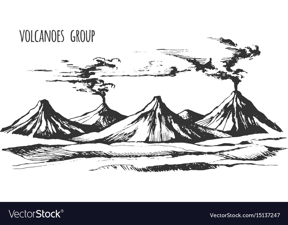 Volcanoes group landscape vector image