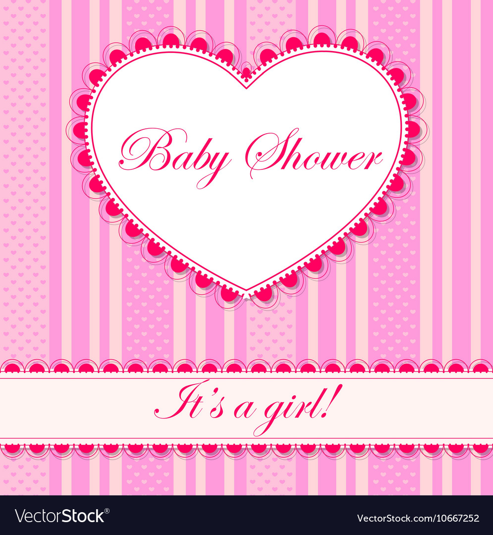 Baby Shower With Heart Banner Girl Royalty Free Vector Image