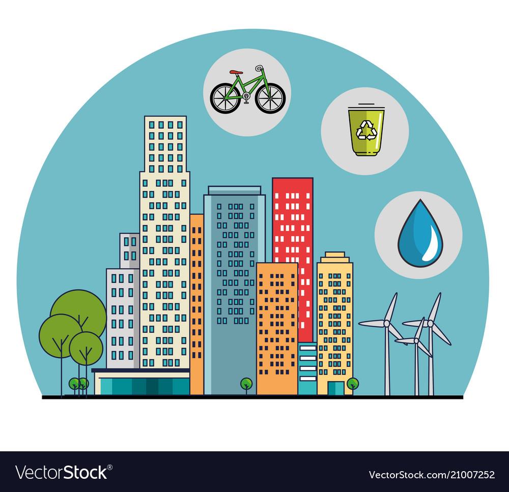 Buildings ecology green city scene