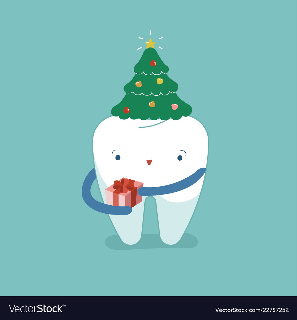 Christmas Festival Cartoon Images.Christmas Trees Hat On Tooth Christmas Festival