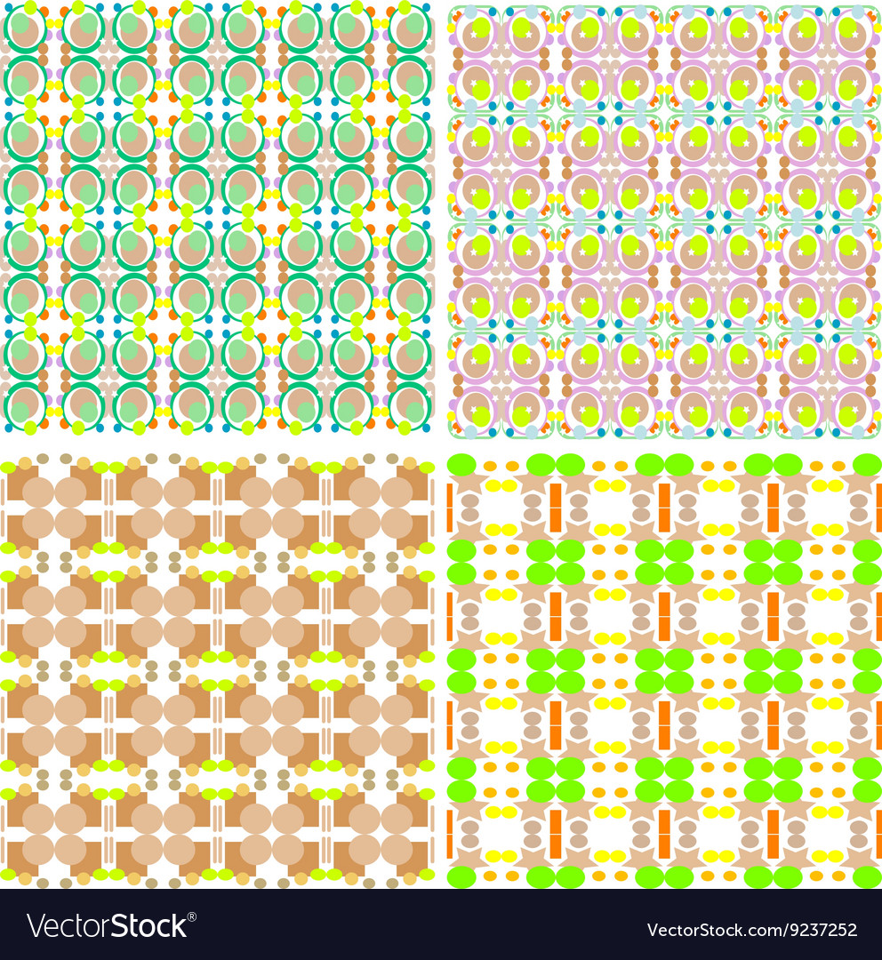 Collection of four seamless decorative patterns