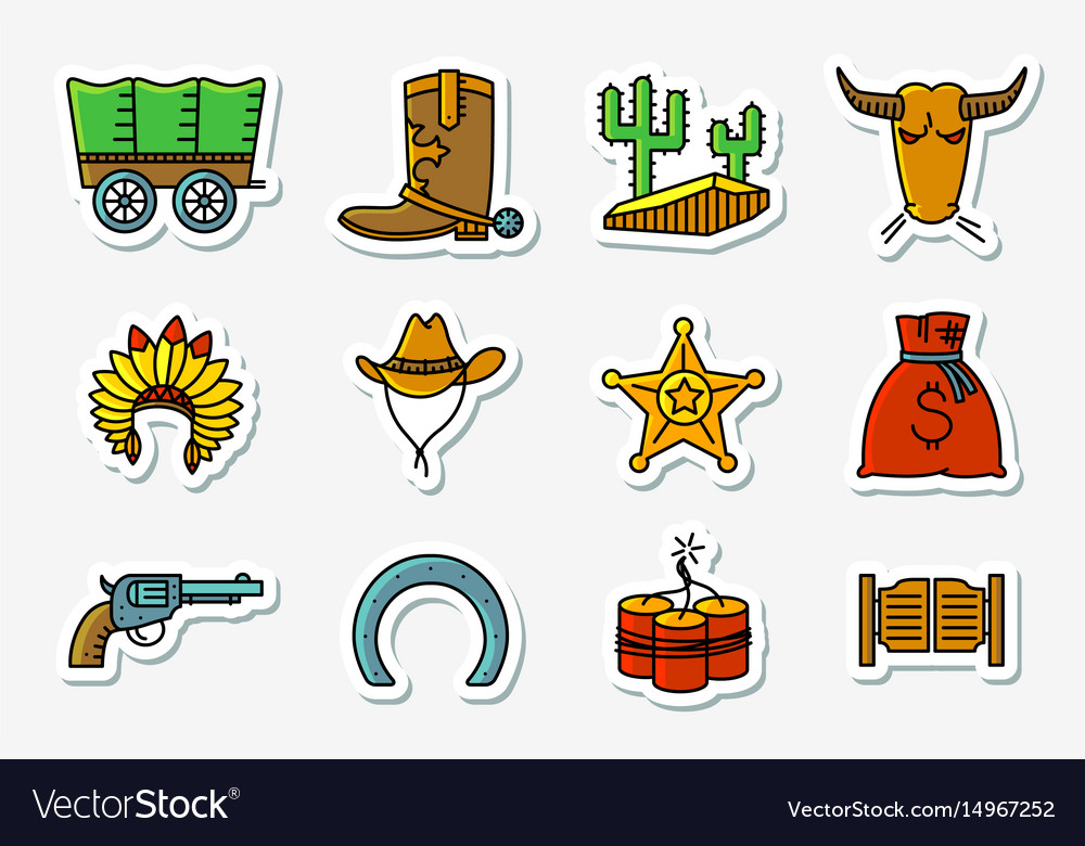 Cowboy and western icons set in line art