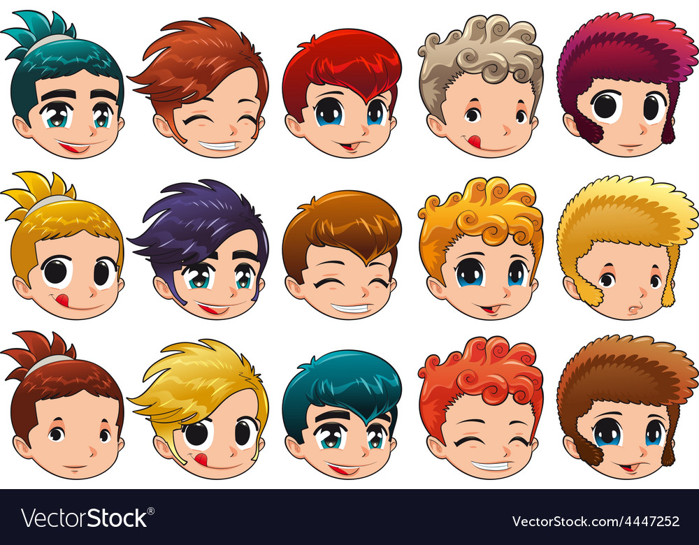Group of faces with different expressions and hair