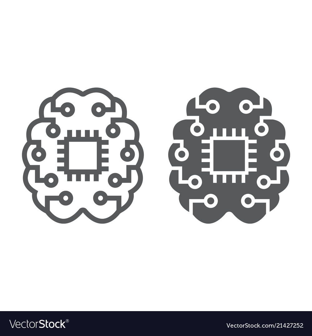 Machine thinking line and glyph icon
