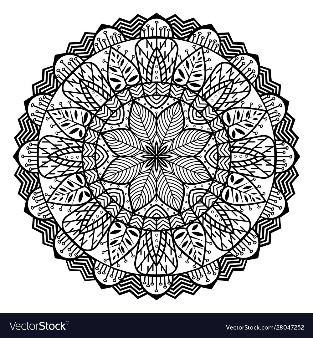Mandala circle with floral elements sacred