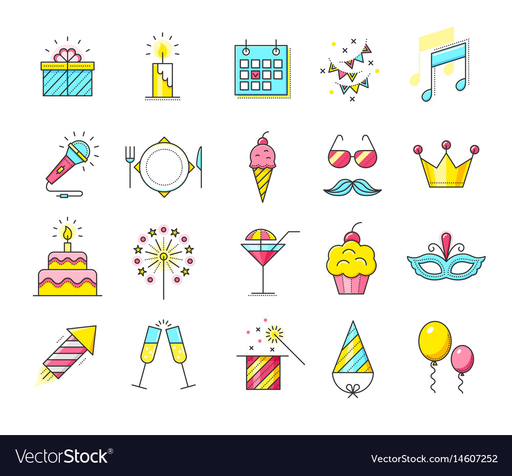 Party icons celebration