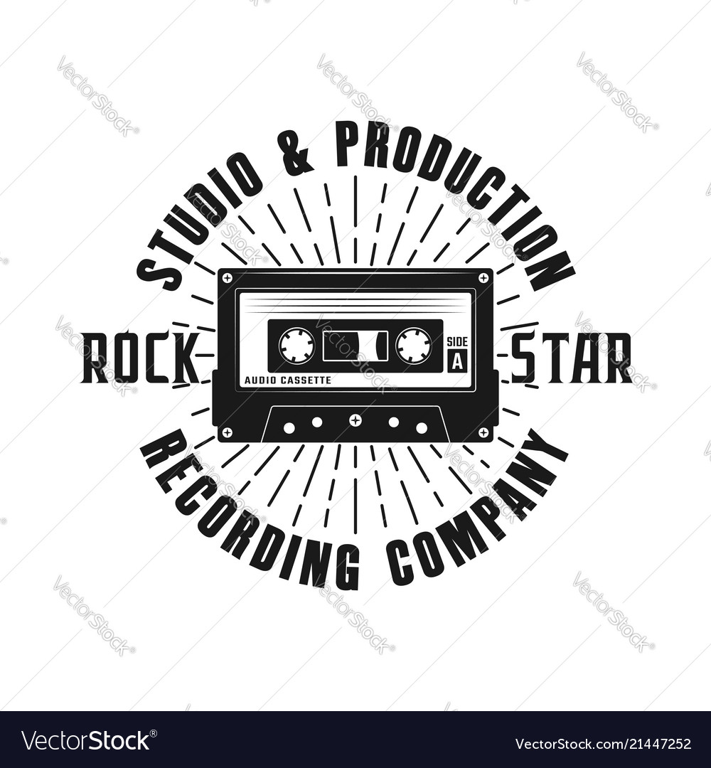 Rock music emblem with audio cassette and rays