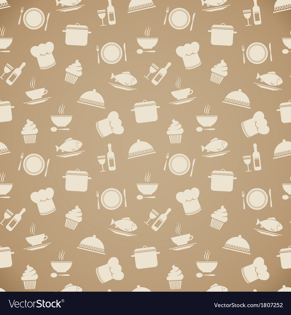 seamless restaurant menu pattern background vector image