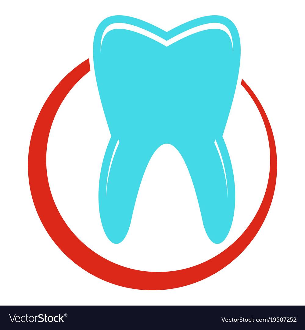 Snow white tooth icon flat style