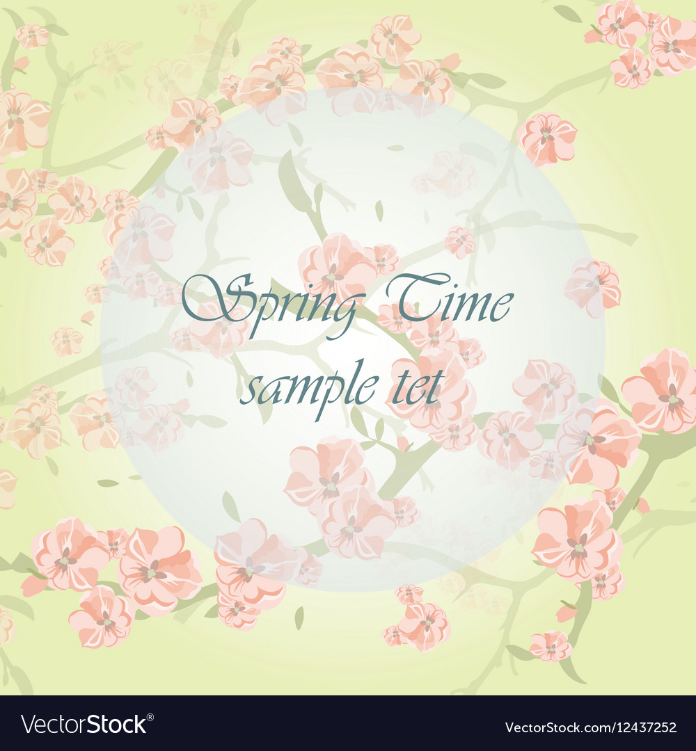 Watercolor Background with Blooming Apple Flowers