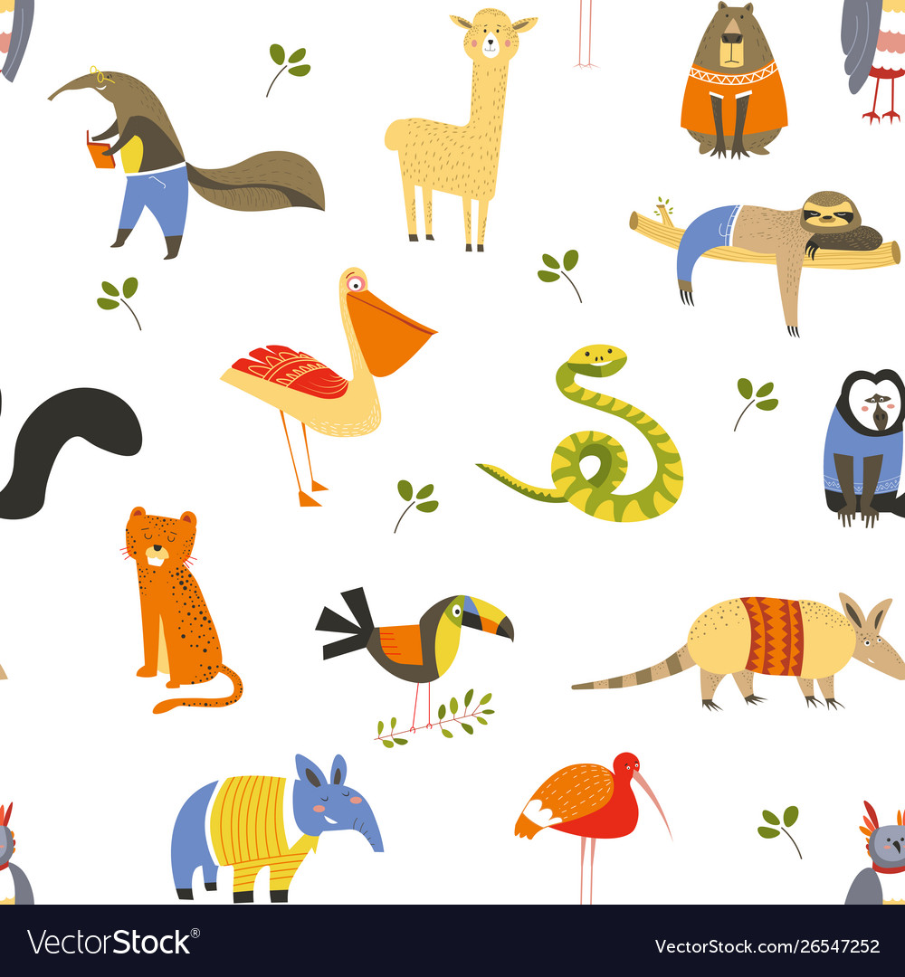 Wild american animals and birds seamless pattern