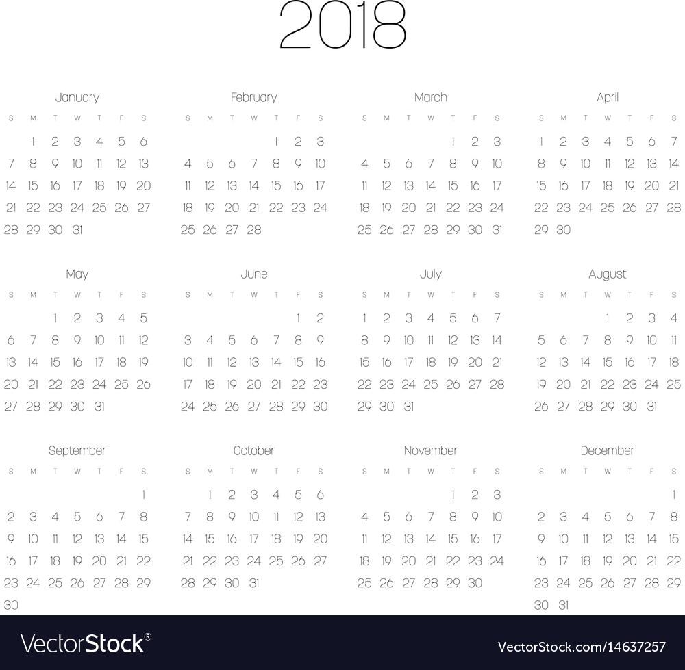 Calendar - year 2018 week starts from