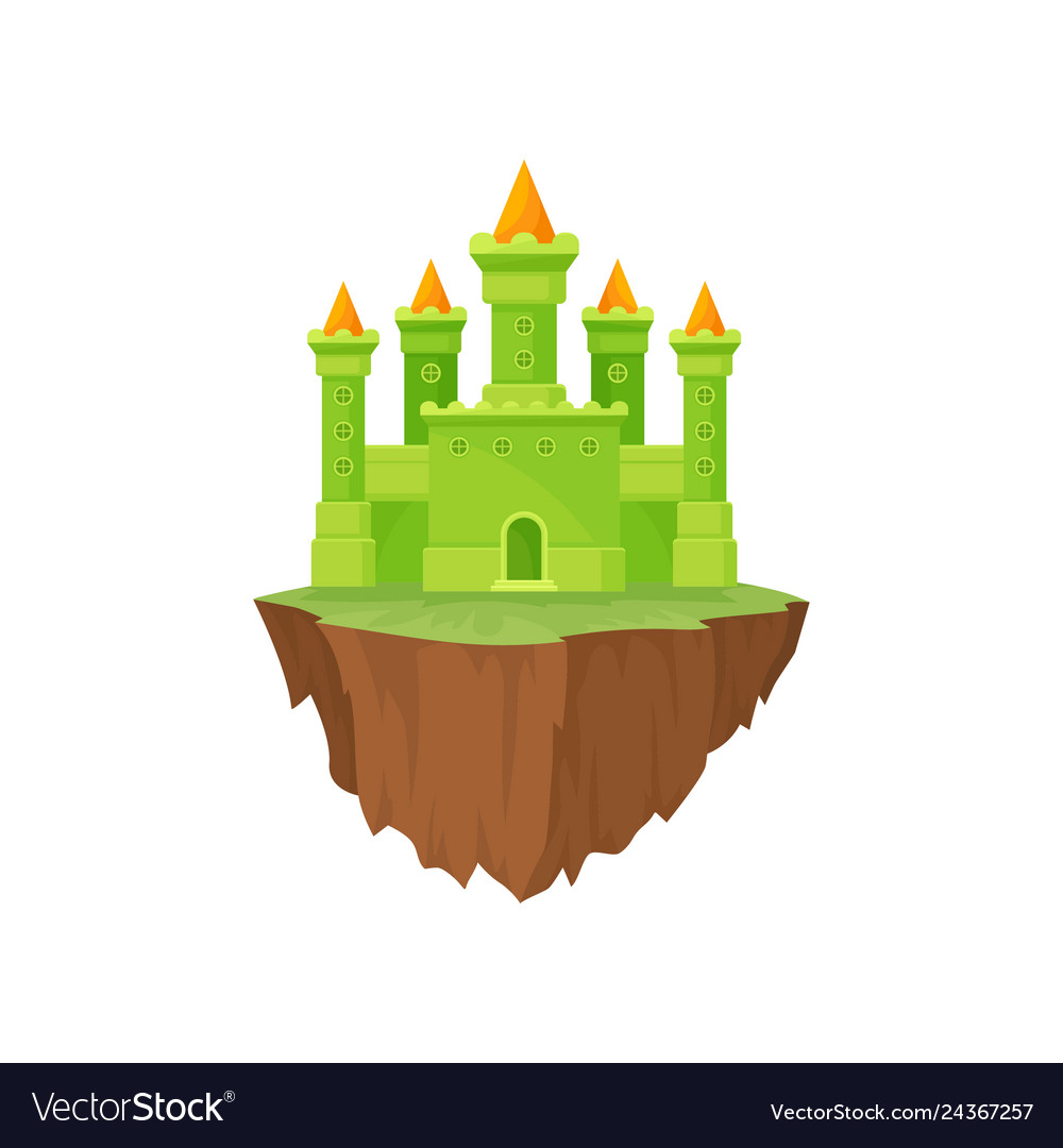 Cartoon fairytale island castle on white