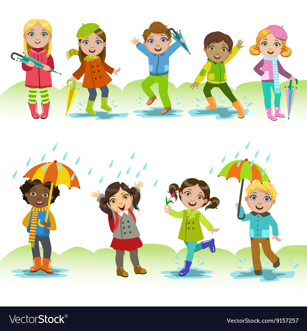 Children Enjoying The Rain