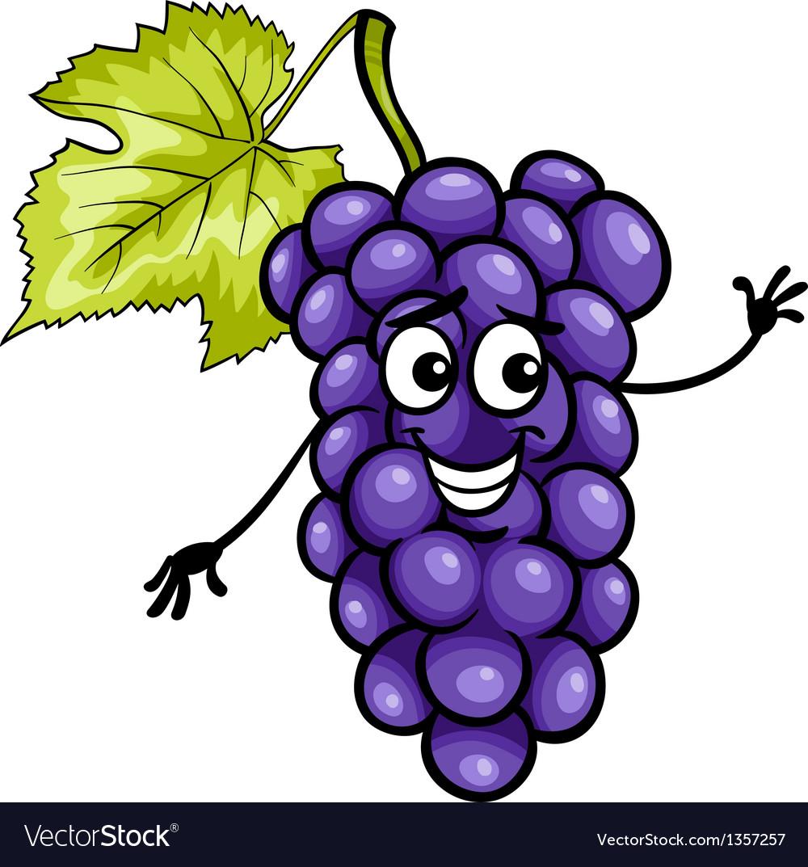 Funny blue grapes fruit cartoon