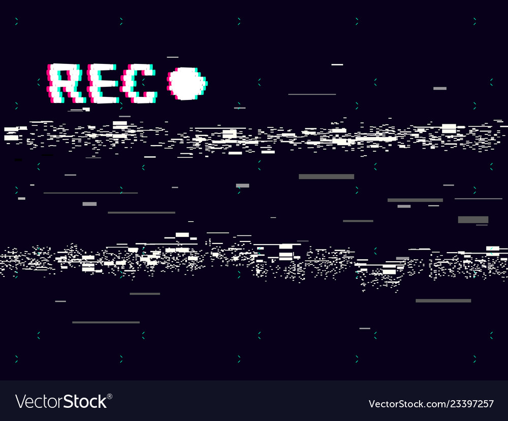 Glitch old camera rec on black background vhs
