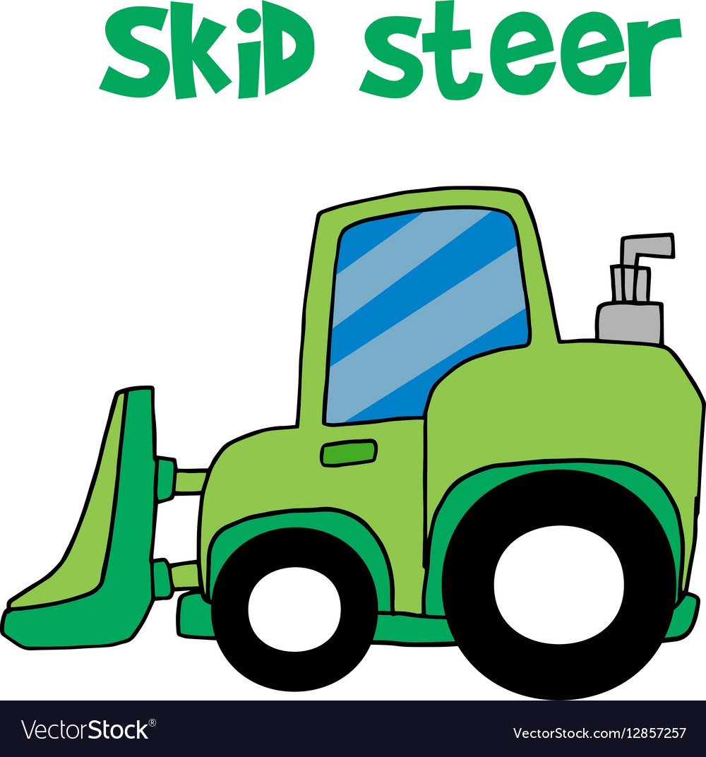 Green skid steer cartoon