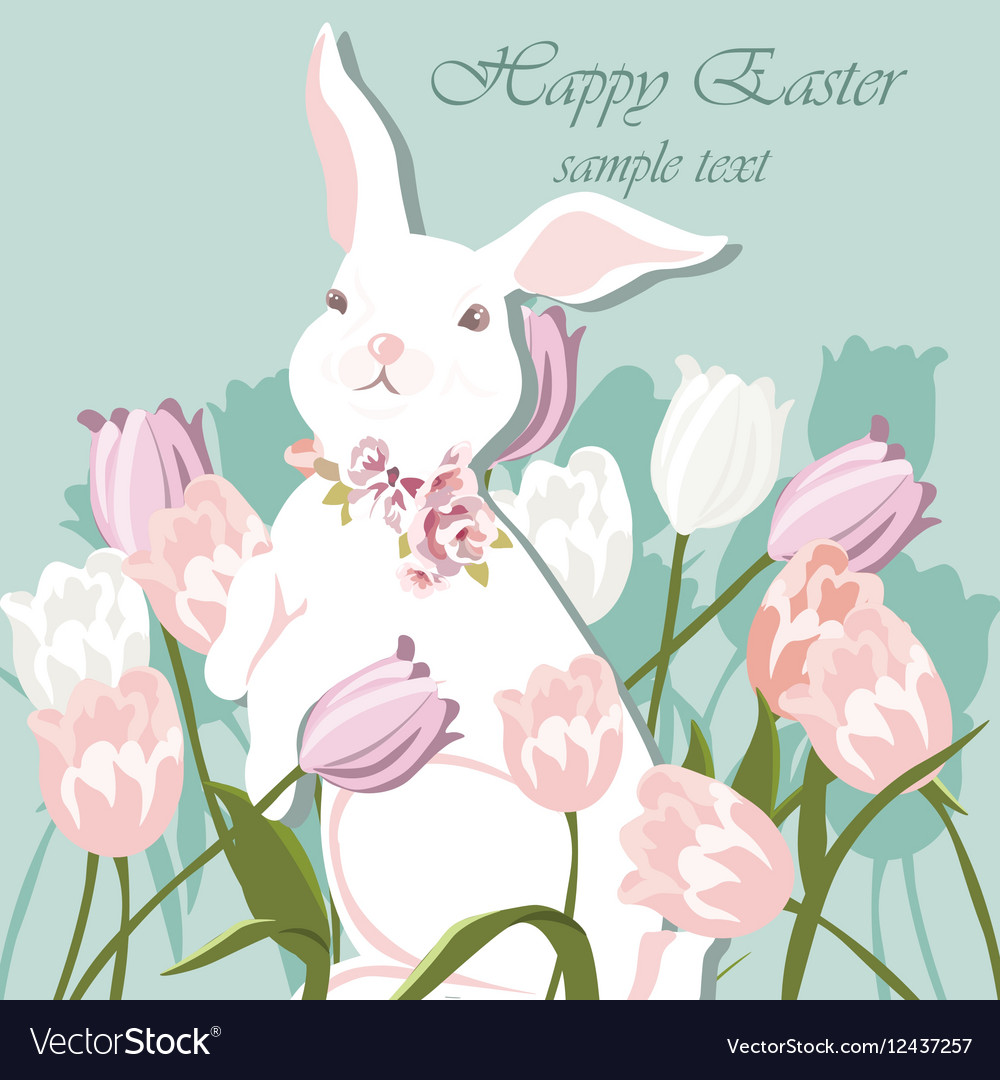 Happy Easter card with bunnies