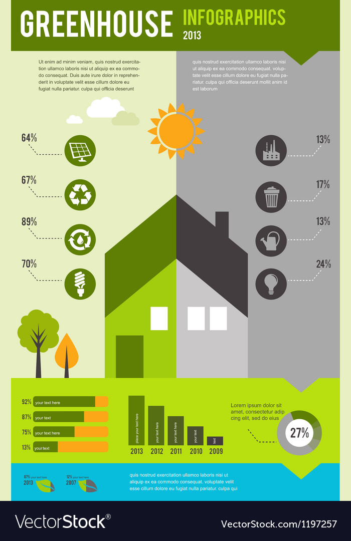 Infographic of ecology and green house concept