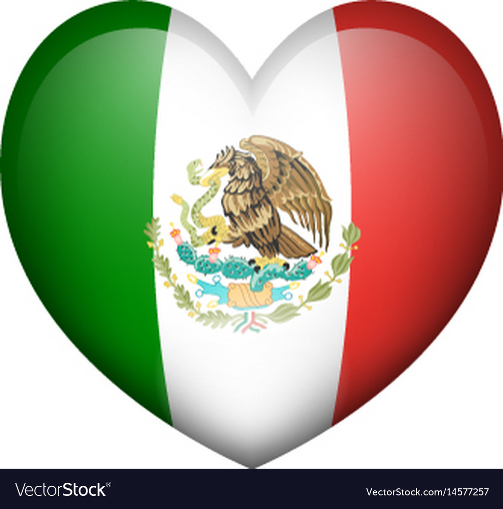 Mexico flag in heart shape vector image