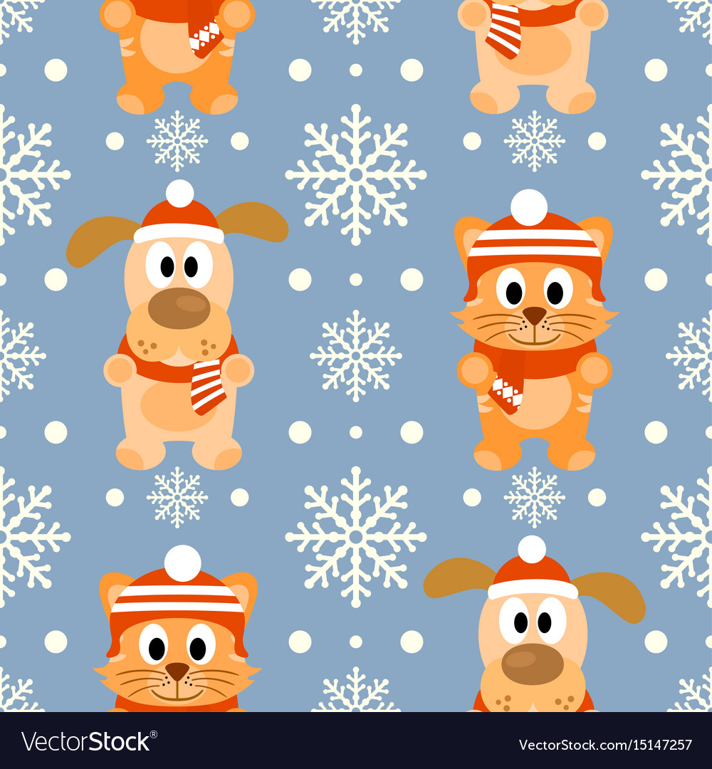 New year seamless background with funny cat and do vector image