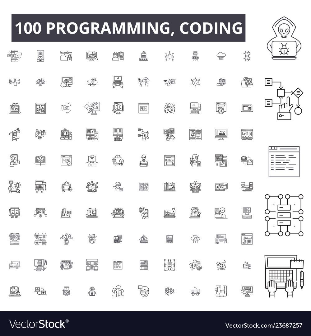 Programming coding editable line icons 100