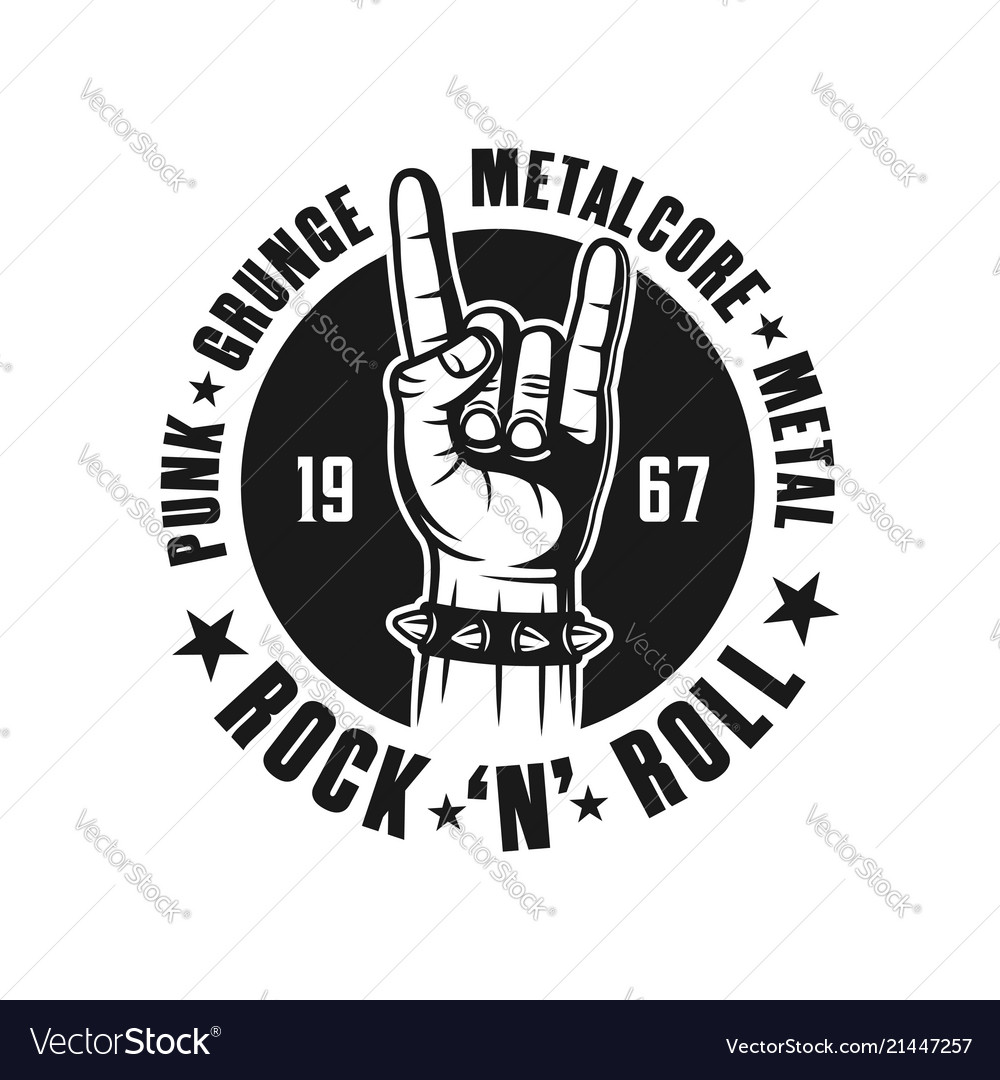 Rock n roll black emblem with hand gesture