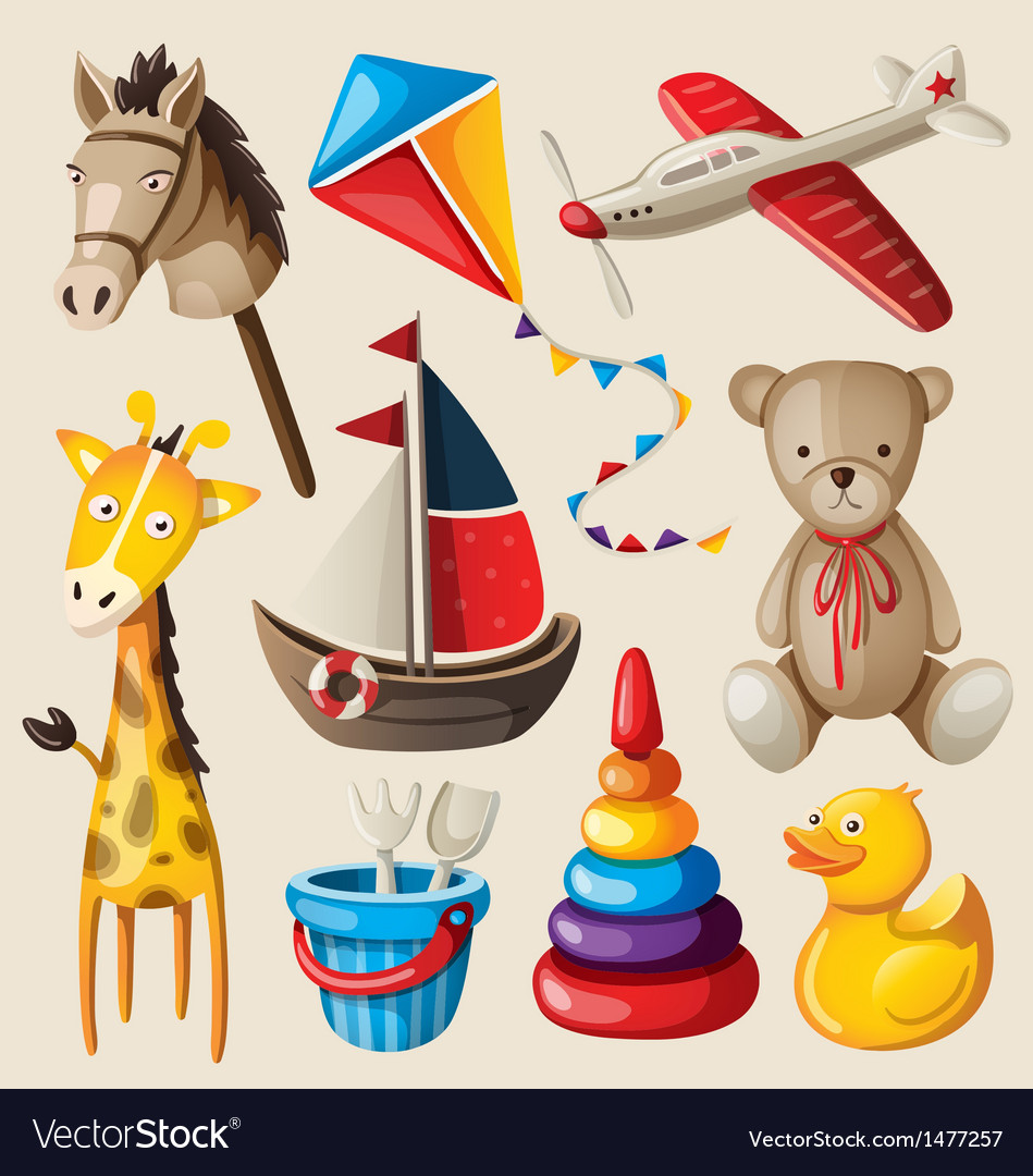 Set colorful vintage toys for kids vector