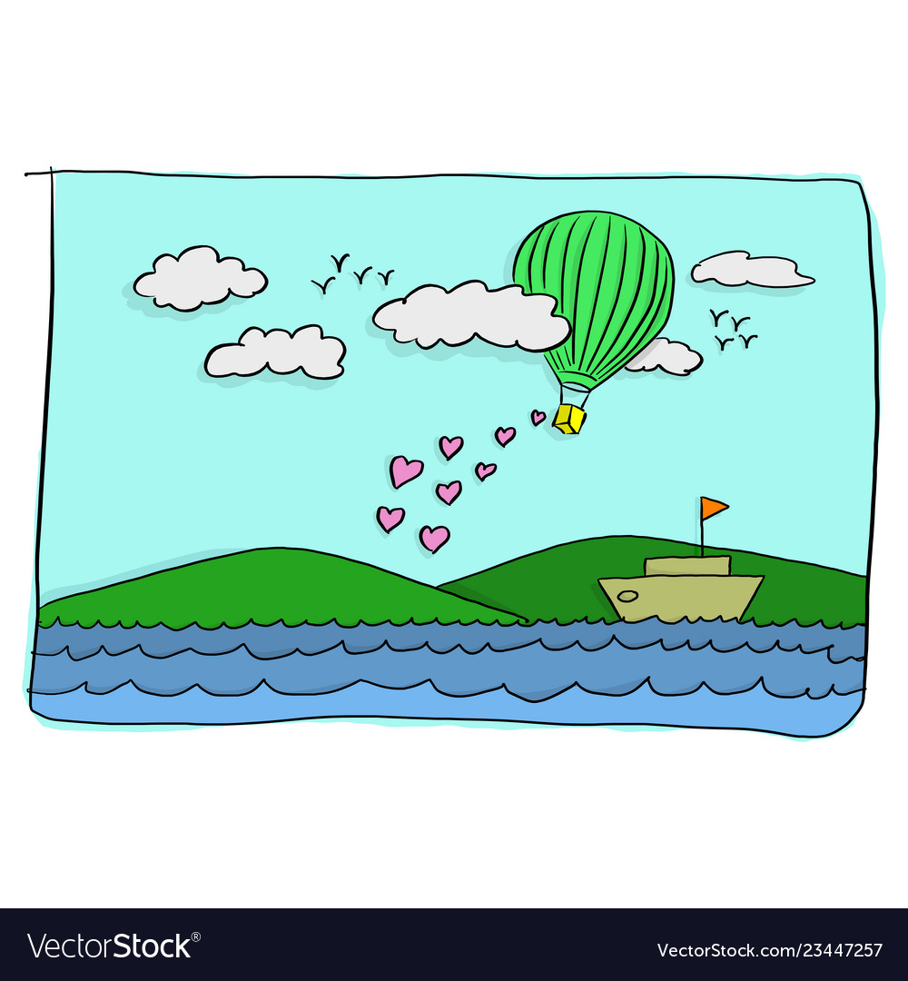 Sweet valentine card of green hot air balloon