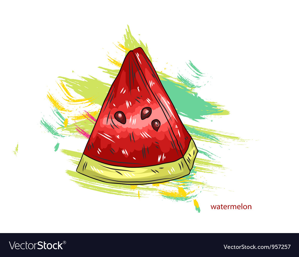 Watermelon with colorful splashes