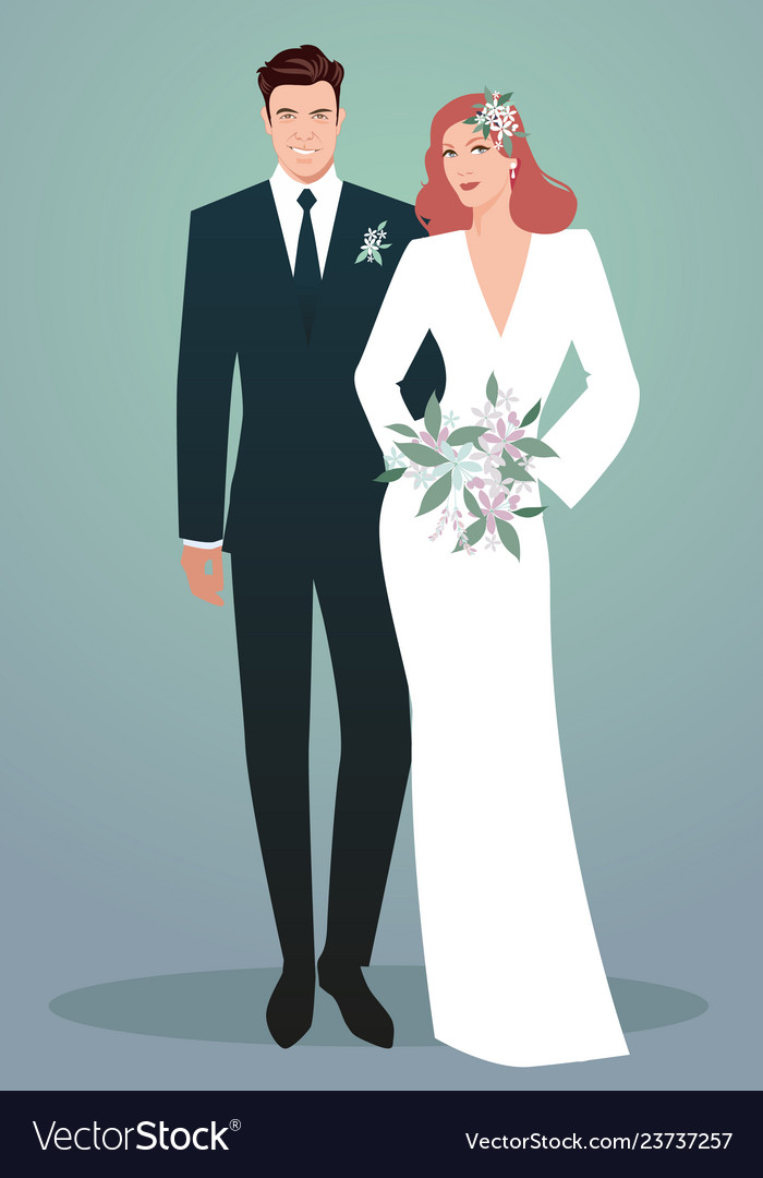 Young couple of newlyweds wearing wedding clothes